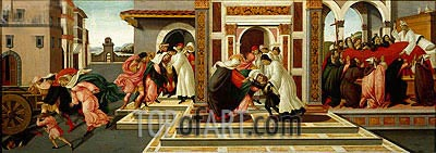 Four Scenes from the Early Life of Saint Zenobius  from Two Spalliera Panels, c.1500 | Botticelli| Painting Reproduction