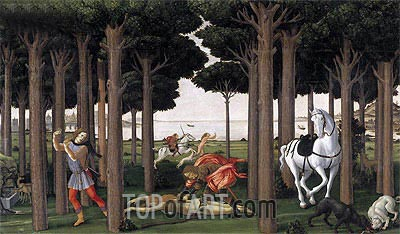 The Story of Nastagio degli Onesti II, c.1483 | Botticelli| Painting Reproduction
