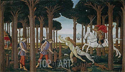 The Story of Nastagio degli Onesti I, c.1483 | Botticelli | Painting Reproduction