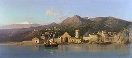 View of Taormina, Sicily, Mount Etna in the Background, 1868 by Alessandro la Volpe | Painting Reproduction