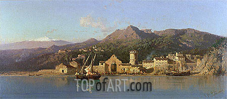 View of Taormina, Sicily, Mount Etna in the Background, 1868 | Alessandro la Volpe | Painting Reproduction