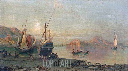 Fishing Boats on the Italian Coast, undated | Alessandro la Volpe| Painting Reproduction