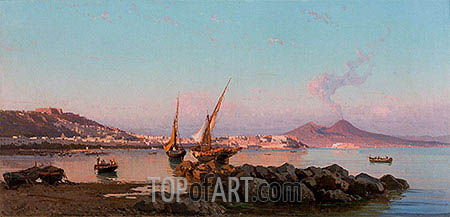 View of the Bay of Naples, 1877 | Alessandro la Volpe | Painting Reproduction