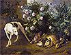Hund Bewachung Spiel in der Nähe eines Rosenbusch, 1724 | Alexandre-François Desportes