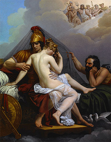 Mars and Venus Surprised by Vulcan, 1827 | Alexandre Guillemot| Painting Reproduction