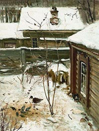 Court Yard. Winter | Alexey Savrasov | Painting Reproduction