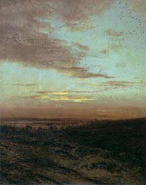 Evening. Flight of Birds, 1874 by Alexey Savrasov | Painting Reproduction