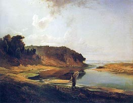Landscape with River and Fisherman, 1859 by Alexey Savrasov | Painting Reproduction