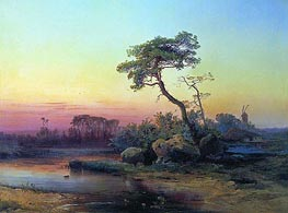 Landscape with a Pine, 1854 by Alexey Savrasov | Painting Reproduction