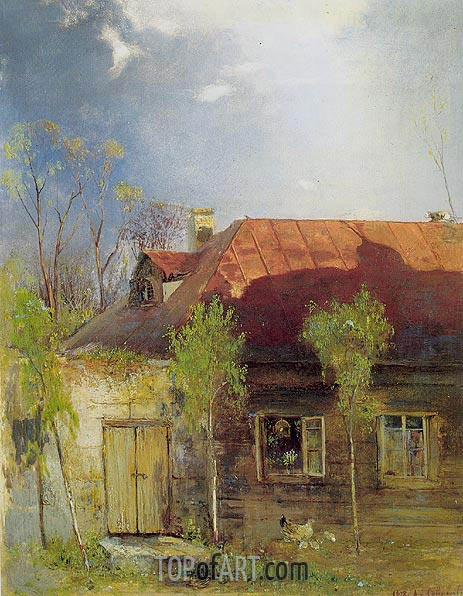 Small House in a Province. Spring, 1878 | Alexey Savrasov| Painting Reproduction