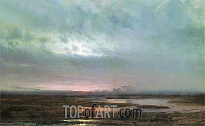 Sunset Above Bogs, 1871 | Alexey Savrasov| Gemälde Reproduktion