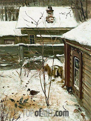 Court Yard. Winter, c.1870 | Alexey Savrasov| Gemälde Reproduktion