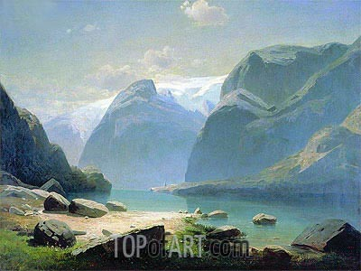 Lake in Mountains of Switzerland, 1866 | Alexey Savrasov| Painting Reproduction