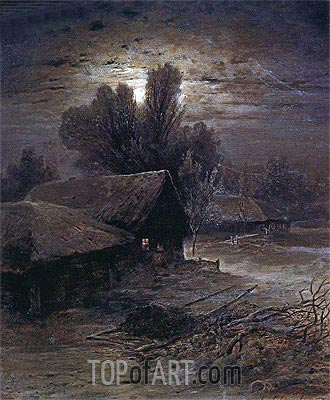 Moonlight Night in Village (Winter Night), 1869 | Alexey Savrasov | Gemälde Reproduktion