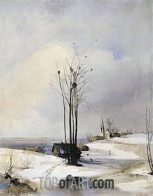 Early Spring. Thaw, a.1880 | Alexey Savrasov | Painting Reproduction