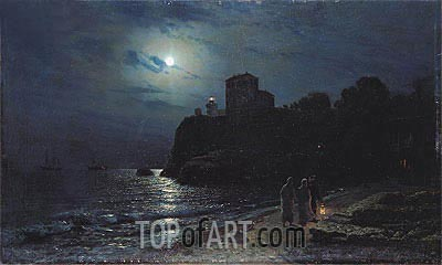 Moonlight on the Edge of a Lake, 1870 | Alexey Savrasov| Painting Reproduction