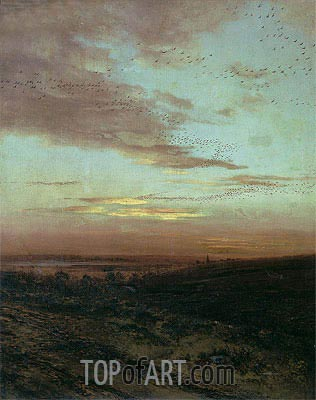 Evening. Flight of Birds, 1874 | Alexey Savrasov | Gemälde Reproduktion