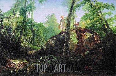 Stone in Wood at 'Flood'. View in Luzhina's Manor near Station Vlahernskaja, 1850 | Alexey Savrasov | Painting Reproduction
