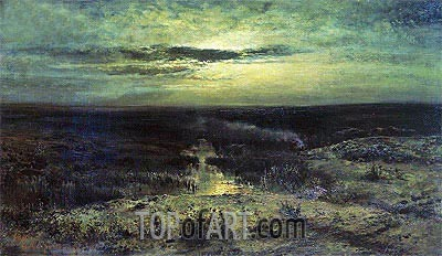 Moonlight Night. Bog, 1870 | Alexey Savrasov | Painting Reproduction