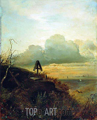 Tomb on Volga. Vicinities of Yaroslavl, 1874 | Alexey Savrasov | Painting Reproduction