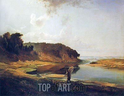 Landscape with River and Fisherman, 1859 | Alexey Savrasov | Painting Reproduction