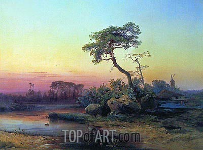 Landscape with a Pine, 1854 | Alexey Savrasov | Painting Reproduction