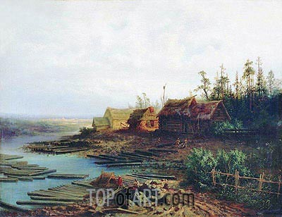 Rafts, 1868 | Alexey Savrasov| Painting Reproduction