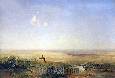 Steppe. Afternoon, 1852 | Alexey Savrasov | Painting Reproduction