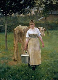 Manda Lametrie, Farm Girl, 1887 by Alfred Roll | Painting Reproduction