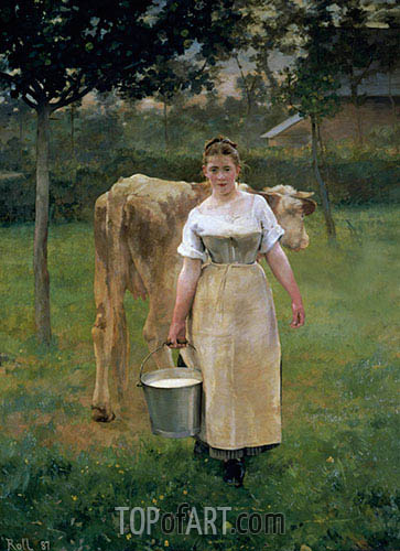 Manda Lametrie, Farm Girl, 1887 | Alfred Roll | Painting Reproduction