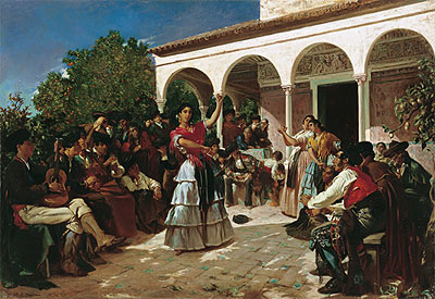 Gypsy Dance in the Gardens of the Alcazar before the Pavilion of Charles V, 1851 | Alfred Dehodencq | Gemälde Reproduktion