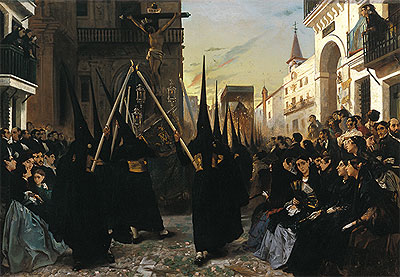 A Religious Confraternity Processing along the Calle Genova, Seville, 1851 | Alfred Dehodencq | Painting Reproduction