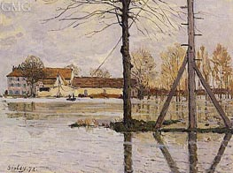 Ferry to the Ile-de-la-Loge, Flood | Alfred Sisley | outdated