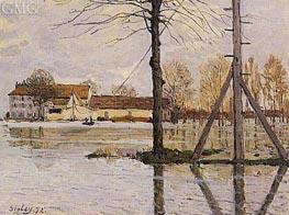 Ferry to the Ile-de-la-Loge, Flood, 1872 von Alfred Sisley | Gemälde-Reproduktion
