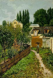 Garden Path in Louveciennes (Chemin de l'Etarch), 1873 von Alfred Sisley | Gemälde-Reproduktion