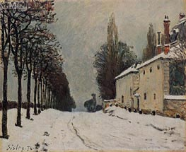 The Road to Louveciennes in Winter, 1874 by Alfred Sisley | Painting Reproduction