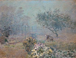 Foggy Morning, Voisins, 1874 by Alfred Sisley | Painting Reproduction