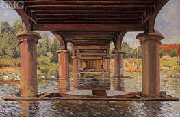 Under the Bridge at Hampton Court, 1874 by Alfred Sisley | Painting Reproduction