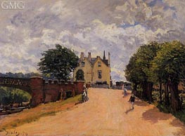 Inn at East Molesey with Hampton Court Bridge, 1874 by Alfred Sisley | Painting Reproduction