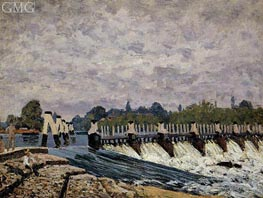 Molesey Weir Hampton Court, 1874 by Alfred Sisley | Painting Reproduction