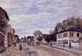 Street Scene in Marly, 1876 by Alfred Sisley | Painting Reproduction