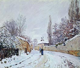 Road under Snow, Louveciennes, c.1876 by Alfred Sisley | Painting Reproduction