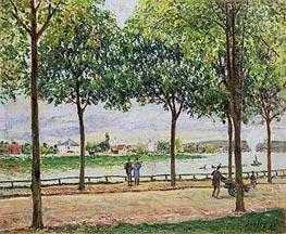 Street of Spanish Chestnut Trees by the River, 1878 by Alfred Sisley | Painting Reproduction