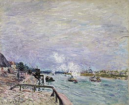 The Seine at Grenelle - Rainy Weather, 1878 by Alfred Sisley | Painting Reproduction