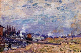 The Saine at Grenelle, 1878 by Alfred Sisley | Painting Reproduction