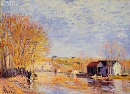 High Waters at Moret-sur-Loing, 1879 by Alfred Sisley | Painting Reproduction