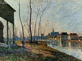 A February Morning at Moret-sur-Loing, 1881 by Alfred Sisley | Painting Reproduction