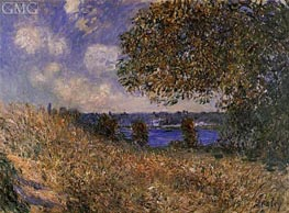 Near the Banks of the Seine at By, 1882 by Alfred Sisley | Painting Reproduction