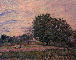Walnut Trees, Sunset - Early Days of October, 1882 by Alfred Sisley | Painting Reproduction
