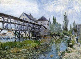 Provencher's Mill at Moret, 1883 by Alfred Sisley | Painting Reproduction